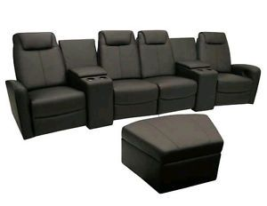 Seatcraft Bella Home Theater Seating 4 Seats 2 Wedges Black 2 Recliner Chairs
