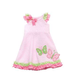 RARE Editions Baby Girls Pink Butterfly Spring Summer Seersucker Dress 12M New