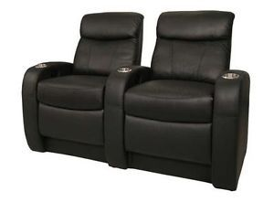 Rialto Home Theater Seating 2 Back Row Seats Black Leather Power Chairs