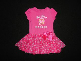 Baby Glam 9M Baby Girl Snap Tee Dress My First Easter Pink Bow Polka Dot 15