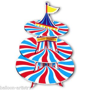 37 5cm Carnival Helter Skelter Party 3 Tier Card Cupcake Cake Stand