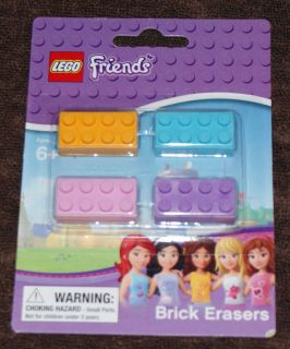 Lego Friends 4 Pack Brick Erasers NIP