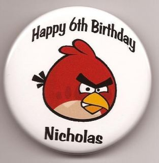 Personalized Birds Angry Birthday Button Pin Badge Party Favor Keepsake Choice