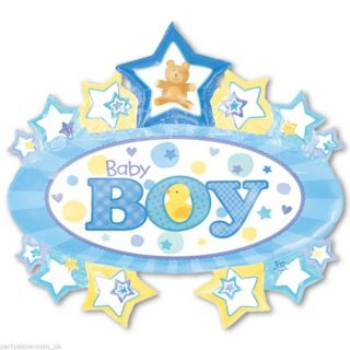 "31"" Blue Baby Boy Marquee Stars Foil Supershape Balloon"