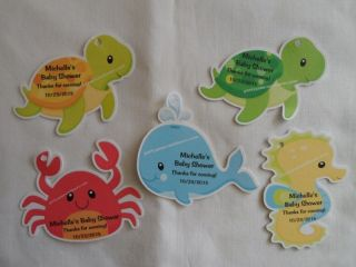 Unique Personalized Under The Sea Theme Baby Shower Birthday Party Favor Tags