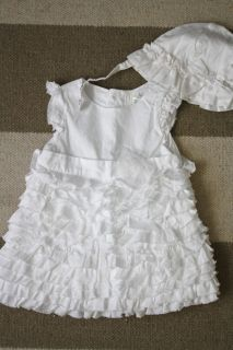 Children's Place 0 3M Baby Girl White Ruffled Dress Easter Dress Spring