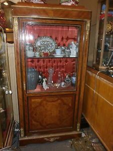 Pair of Antique French Empire Style Vitrine Curio Cabinets with Red Velvet