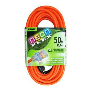 Prime NS511830 Neon Flex® Heavy Duty 50' Extension Cord w Indicator Light 125V
