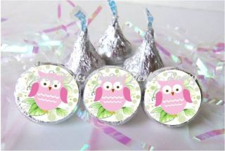 Owl Pink Girl Baby Shower Favors Candy Wrapper Stickers 1st 2nd Birthday Party