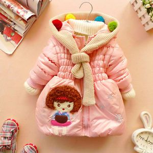 New Baby Girl Clothes Winter Coat Kids Pink Red Jacket Gown with Zip 2 6 Years