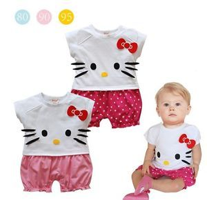 Hello Kitty Baby Girls Climbing Clothing Short Sleeve All in One Romper Bodysuit