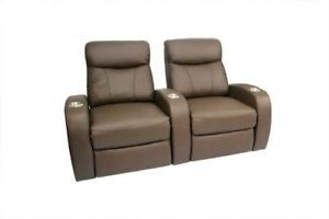 Rialto Home Theater Seating 2 Seat Brown Manual Recliners Leather Chairs