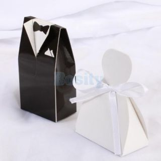 100 Bride Groom Tuxedo Dress Decoration Wedding Party Favor Gift Candy Boxes