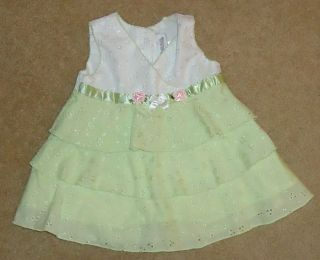 Youngland Baby Girls Eyelet Dress Lime Green White Eyelet Pink Flowers 3 6 Month