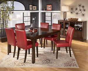 Fisher 7pcs Contemporary Square Dining Room Table Red Chairs Set Furniture