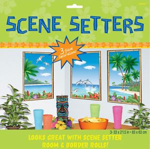 Hawaiian Party Decorations Scene Setters Window View