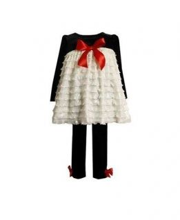 Bonnie Jean Baby Girls Glitter Ruffle Holiday Christmas Dress Outfit 12M New