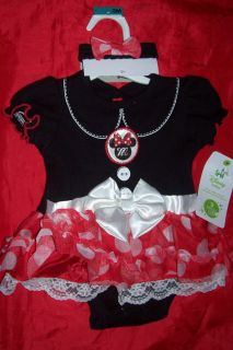 Girls Disney Baby Minnie Mouse Cuddly Body Suit w Headband 3 MO Months