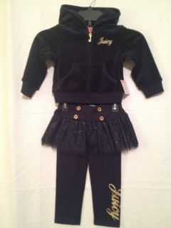 100 Auth Juicy Couture Gold Signature Velour Hoodie Leggings Tutu $98 00
