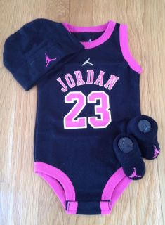 Nike Air Jordan Newborn Baby Girl Infant 3 Piece Gift Set 0 6M New