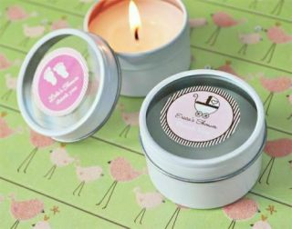 40 Personalized Round Candle Tin Baby Shower Favors