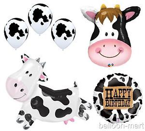 Cow Balloons Farm Animal Theme Birthday Party Western Childs McDonalds Ranch XL