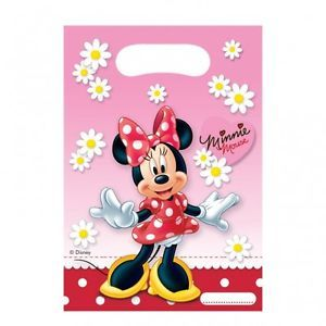 6 Red White Pink Polka Dot Minnie Mouse Happy Birthday Party Plastic Loot Bags