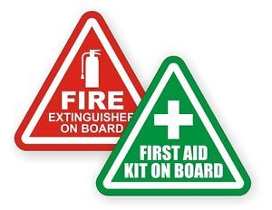 Fire Extinguisher First Aid Kit on Board Vinyl Decal Sticker Label Safety