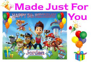 Paw Patrol Cake Topper Decoration Image Birthday Party Cupcake Toppers Blue
