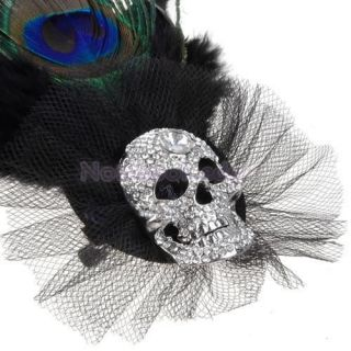 Lady's Peacock Feather Rhinestone Skull Ball Brooch Pin