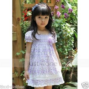 Cute Baby Toddler Girls Cotton Flower Print Short Sleeve Princess Style Dress
