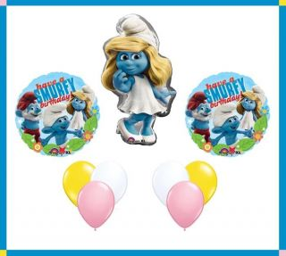 Smurfette Smurf Balloon Girl Happy Birthday Party Set Lot Mylar Latex Bouquet