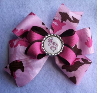 "5"" Pink and Brown Camo ""Browning"" Girls Toddler Baby Boutique Hair Bow Clip"