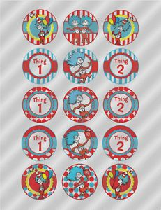 N385 Edible Image Birthday Cake Cookie Cupcake Toppers Seuss Cat Hat Thing 1 2