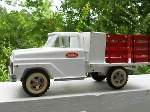 "Vintage Tonka Toys 14"" White Flatbed Stake Truck Good Condition"