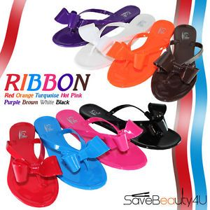 Women Summer Jelly Ribbon Bow Flip Flop Thong Flat Sandals Slipper Shoes Ribbon