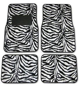 Zebra Black White Universal Car Front Rear Floor Mats w Drivers Side Heel Pad J