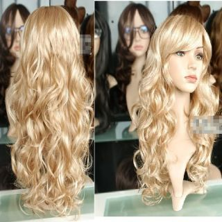 New Sexy Light Blonde Long Wavy Women Fashion Costume Party Hair Full Wig F19