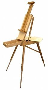 French Artist Easel Wooden Portable Folding Tripod Type Storage Shelf