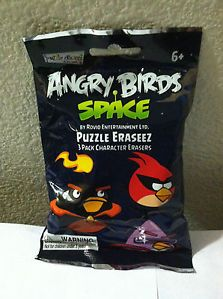 Angry Birds Space Puzzle Eraseez 3 Pack Character Erasers Mystery Bag Brand New