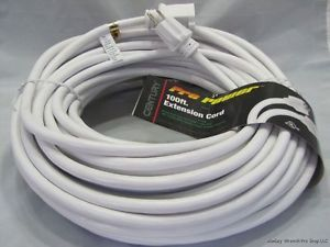 White 100ft 12 3 SJTW Pro Power Extension Cord 15A 125V D14512050