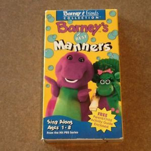 Barney Best Manners Preschool Educational VHS 1992 90's Lyons Group Baby Bop