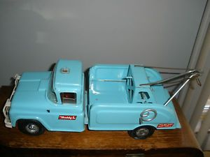 Vintage Buddy L Wrecker Tow Truck Fix Flat Metal Toy 1950's Light Blue