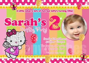 Hello Kitty Birthday Invitations Custom Personalized Photo New Invites Girl New