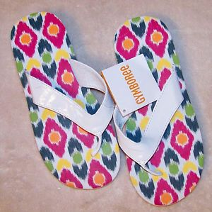 Size 2 3 Gymboree Batik Summer White Flip Flops Sandals Shoes