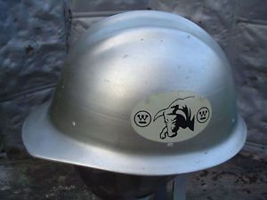 Vintage E D Bullard Hard Boiled Aluminum Hard Hat with Westinghouse Bull Decals