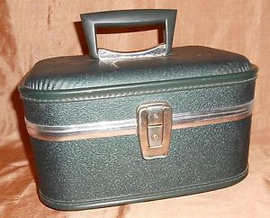 Vintage Travel Luggage Train Case Hard Sided Green Cosmetic Carry on Bag