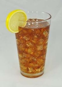 Glass of Ice Tea w Lemon Slice Realistic Fake Food Faux Beverage Drink Prop