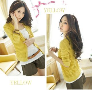 Free SHIP New Women Ladies Sexy Yellow V Neck Cotton Cardigan Sweater Sz SM Med