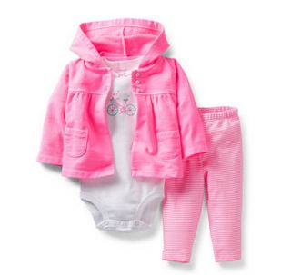 Carters Baby Girl Clothes 3 Piece Set Outfit Pink Bike 3 6 9 12 18 24 Months